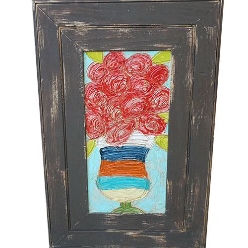 Art by Susan Flowers in Vase 20x30 Wood Panel WP948