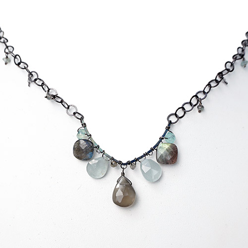 Calliope Necklace Moonstone & Aquamarine JN2297
