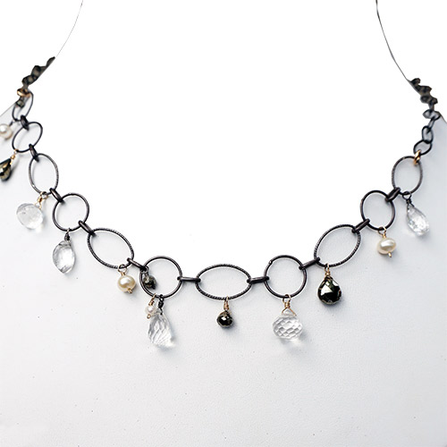 Calliope Necklace Pyrite, Quartz & Pearls JN2299