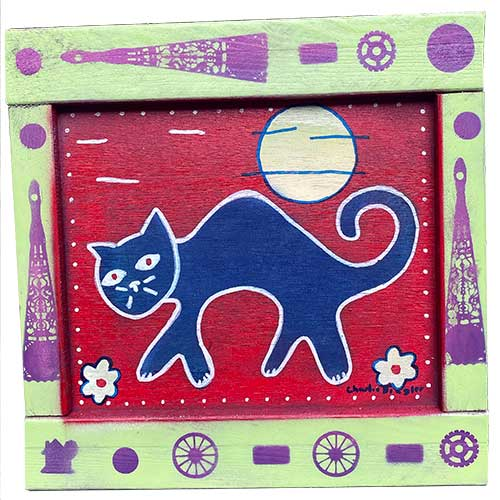 Charlie Dingler 15x15 Cat w/Moon WP1573