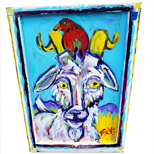 Charlie Frye Goat in a Window 24x34 OP521