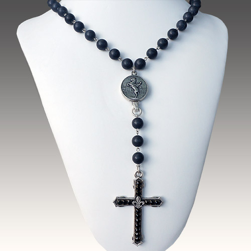 "French Kande Cross on 29"" Black Jasper Long JN2105"