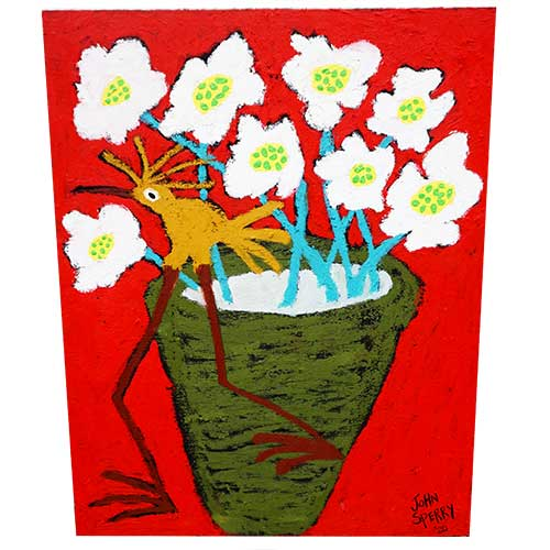 John Sperry 20x25 Flower Pot bird WP1446
