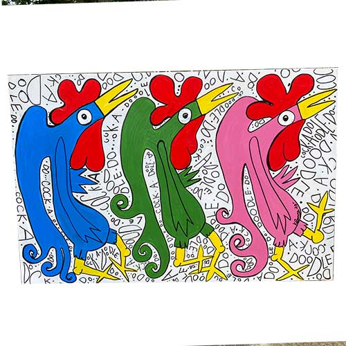 Kip Ramey 36x24 Three Party Birds WP1800