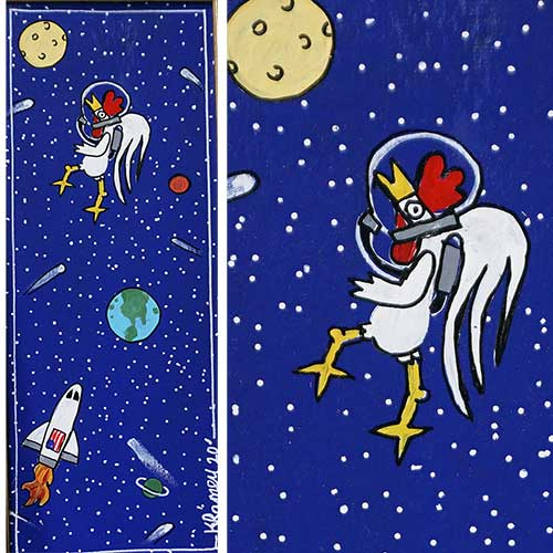 Kip Ramey 10x22 Framed Wilford First Rooster in Space WP1818