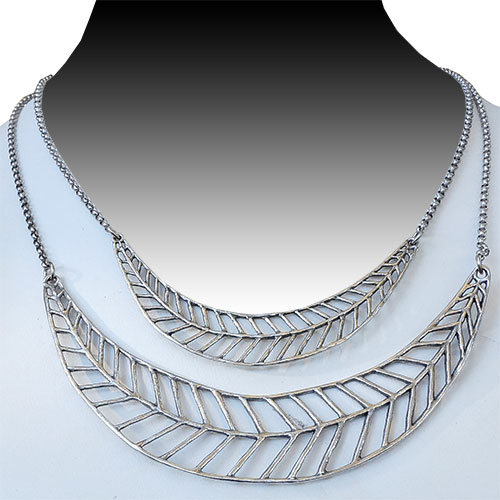 Mercedes Shaffer Necklace Double Feather JN1717