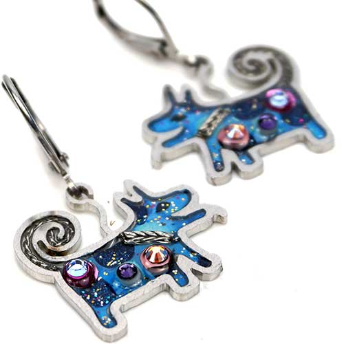 Seeka Blue Dog Earrings JE4179