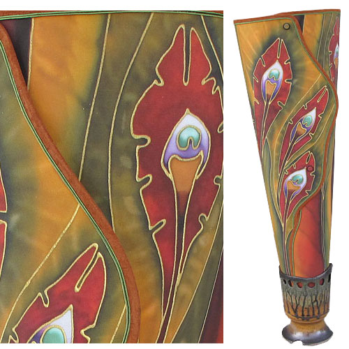 Woodsilks Autumn Peacock Large Lamp FL293 SOLD