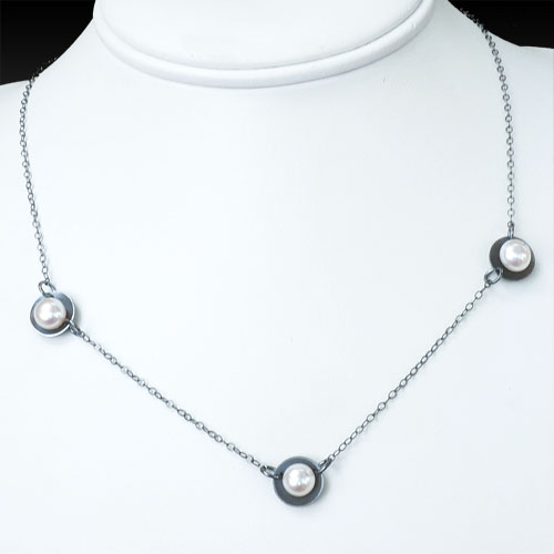 de Soria Necklace Silver & Pearls JN1513